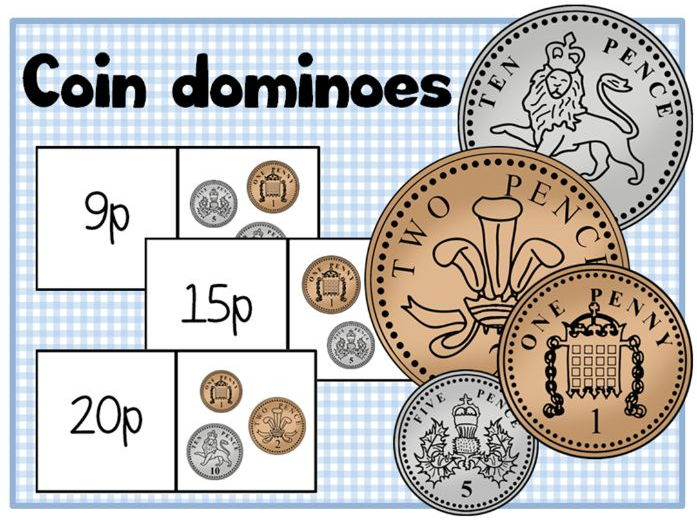 Coin dominoes, Money, 0-10p and 0-20p