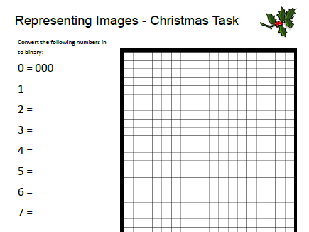 Christmas Representing Images - Computer Science - Binary - Activity
