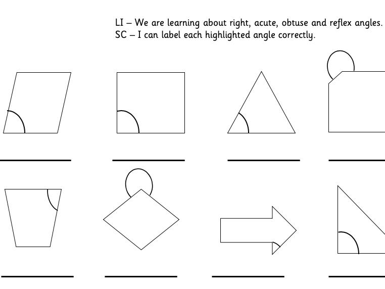 Angle Labelling (acute, reflex, obtuse, right)
