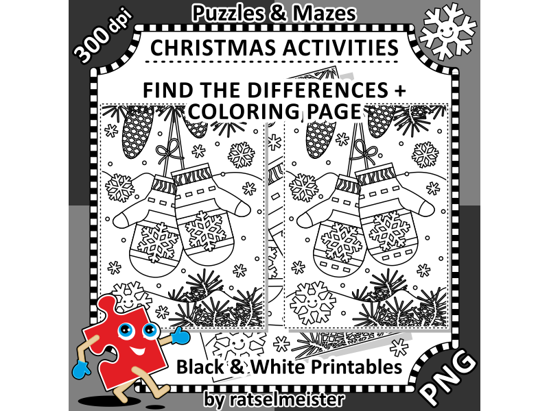Christmas Activities: Santa's Mittens Find the Differences and Colouring Page