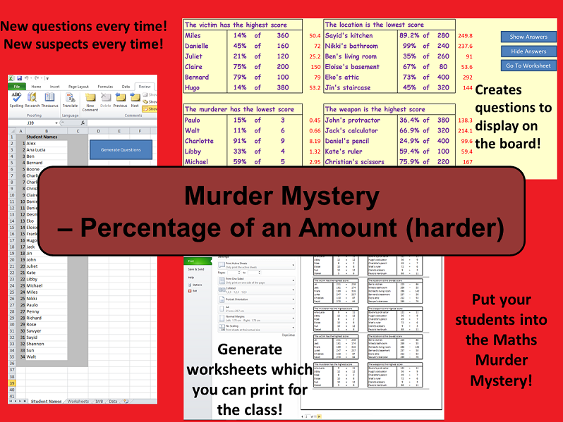 Custom Reusable Murder Mystery - Percentage of an Amount (Harder)