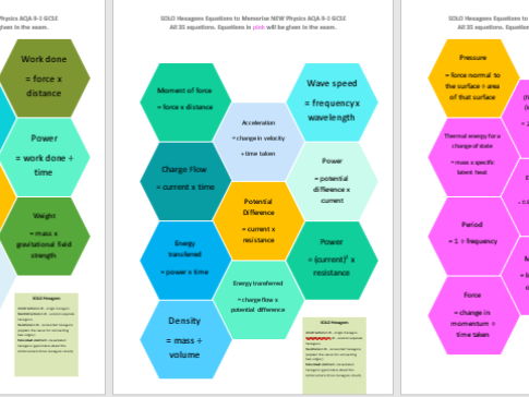 NEW AQA GCSE SOLO HEXAGONS ACTIVITY, DISPLAY AND BOOKMARK PHYSICS  EQUATIONS BUNDLE