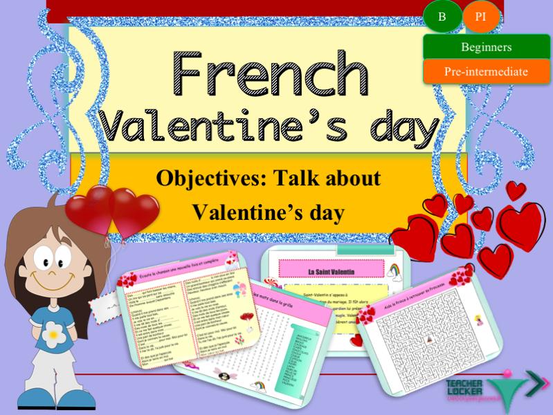 French Saint-Valentin lesson+exercices/La Saint-Valentin en Français (No prep)