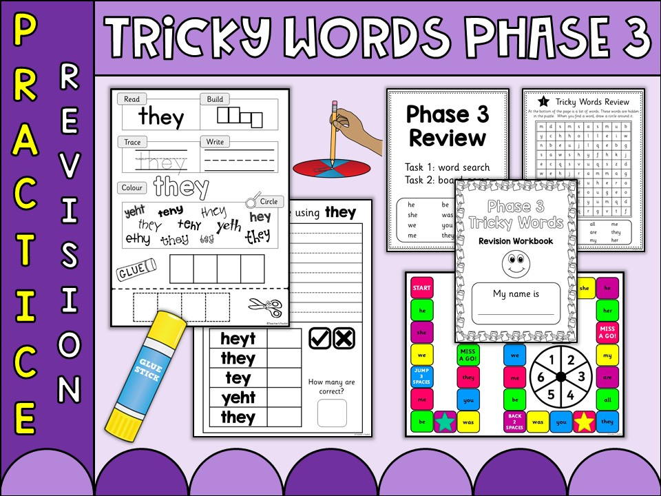 Phonics: Phonics Phase 3 Tricky Words Practice Worksheets