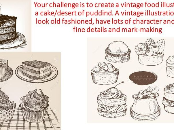 KS3 or Year 9 vintage food drawing challenge