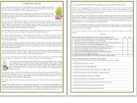 The Magic Easter Egg Hunt - Reading Comprehension Worksheet / Story