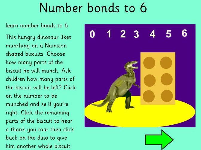 Dinosaur cookie eater reinforcing number bonds to 6