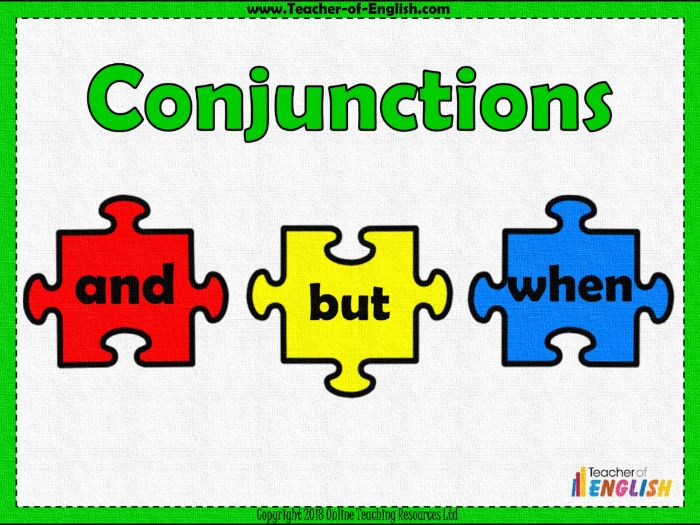 Conjunctions (PowerPoint and worksheets)