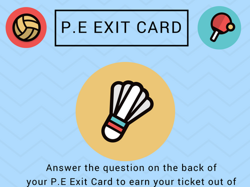 PE Themed Exit Cards