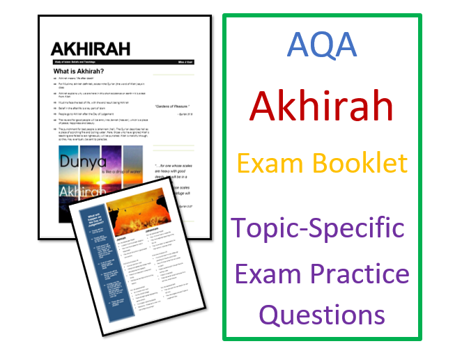 AQA Islam Beliefs: Exam Booklet on Akhirah Afterlife in Islam