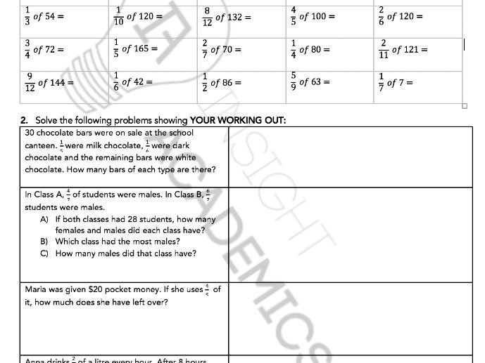 IA - Fractions Booklet (Sample Pages)