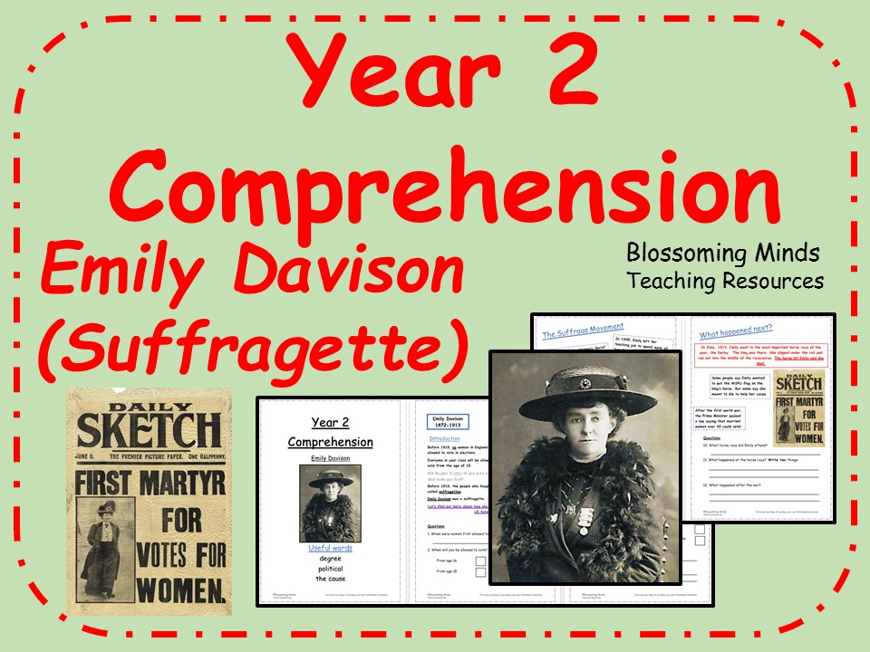 Women's History Month - Year 2 SATs Reading Comprehension - Emily Davison - March