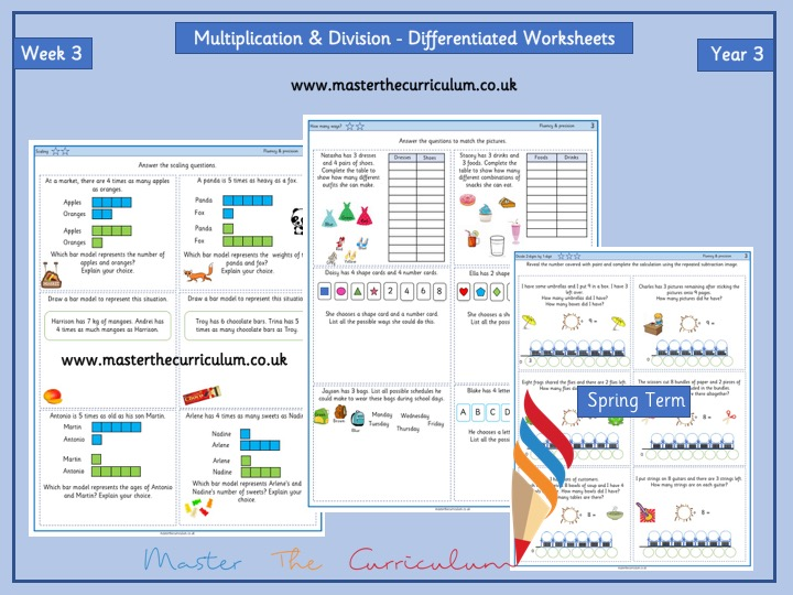 Yr 3- Spring- Block 1- Week 3 -Multiplication & Division Differentiated Worksheets- White Rose Style