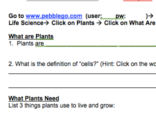 Plants PebbleGo Webquest