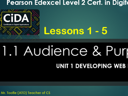 CiDA Unit 1 Developing Web Products Lessons 1 - 5