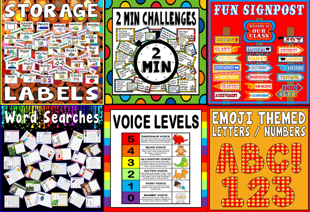 *BUNDLE* LABELS, WORD SEARCHES, CHALLENGES, WELCOME SIGN POST, VOICE LEVELS