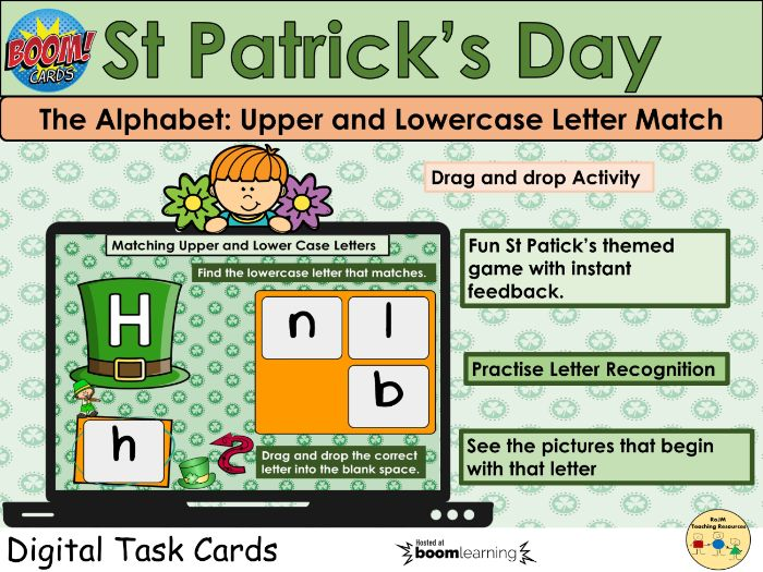 St Patricks Alphabet Letters Match Capital Upper and Lowercase Boom Cards™