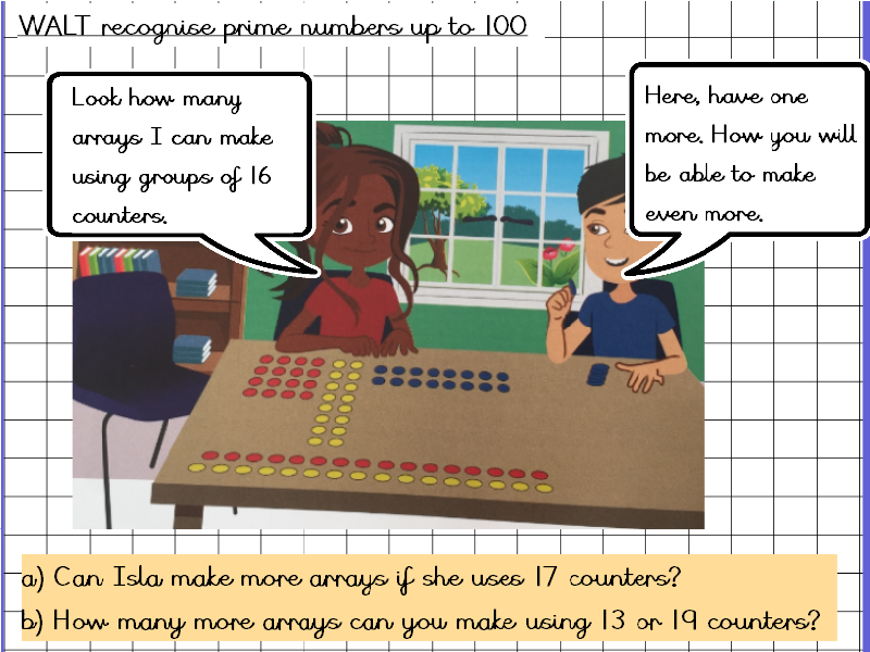 Recognise prime numbers to 100