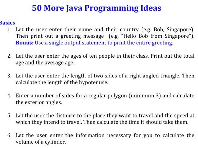50 More Java programming exercises (Beginners to advanced)