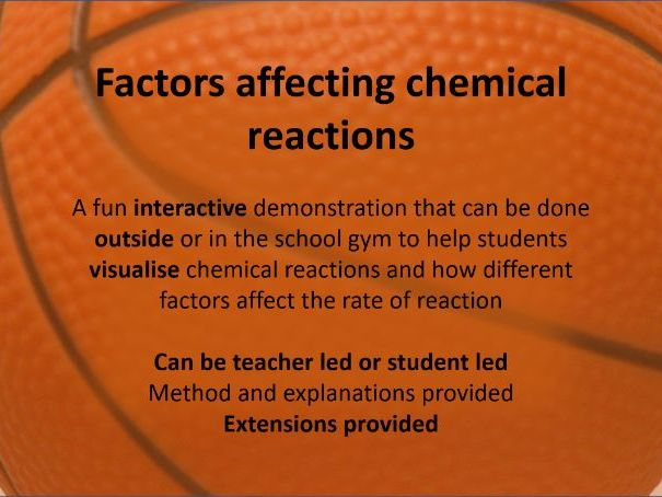 Factors that affect the rate of reaction - Outdoor/active learning