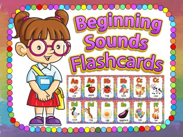 Alphabet BEGINNING SOUNDS FLASHCARDS and WORKSHEETS- Letter Recognition