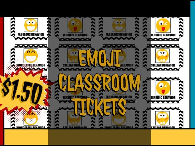 Positive Emoji Behavior Tickets for Elementary School Teachers