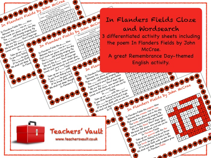 In Flanders Fields Cloze and Word search