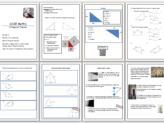 GCSE Maths Pythagoras theorem lesson. Workbook with answers.