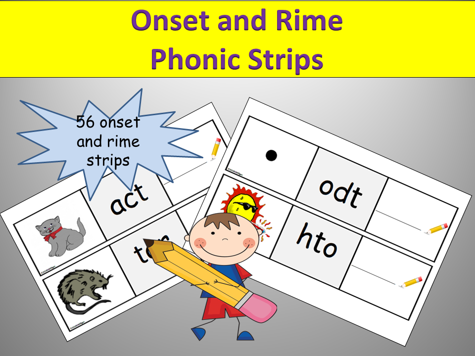 Phonics: 56 Onset and Rime Jumbled Words Strips, Match rhyming words