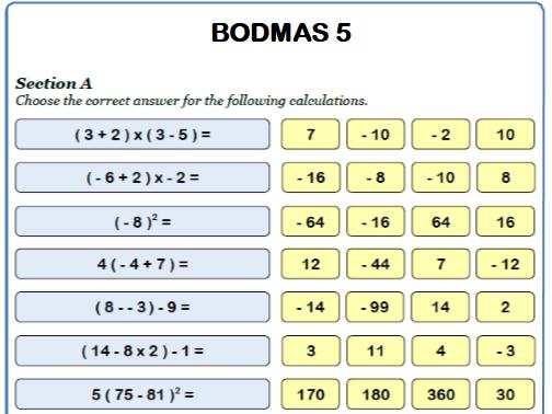 BODMAS Maths Worksheet 5