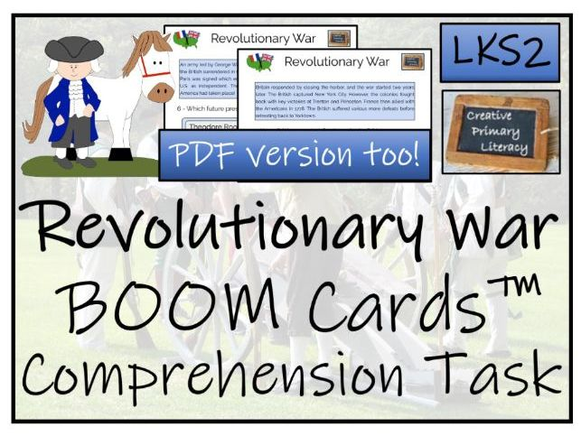 American Revolutionary War LKS2 BOOM Cards™ Comprehension Activity