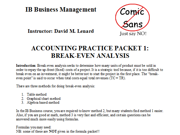 IB Business Management Accounting & Finance Packet 1: Break Even Analysis