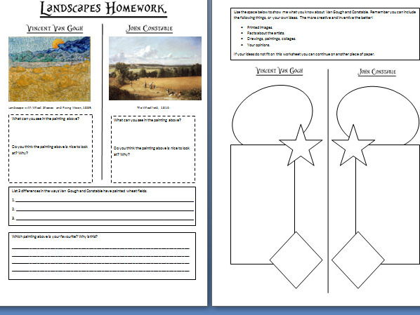 ks3 worksheets on landscape art van gogh and constable by hannah emi teaching resources tes. Black Bedroom Furniture Sets. Home Design Ideas