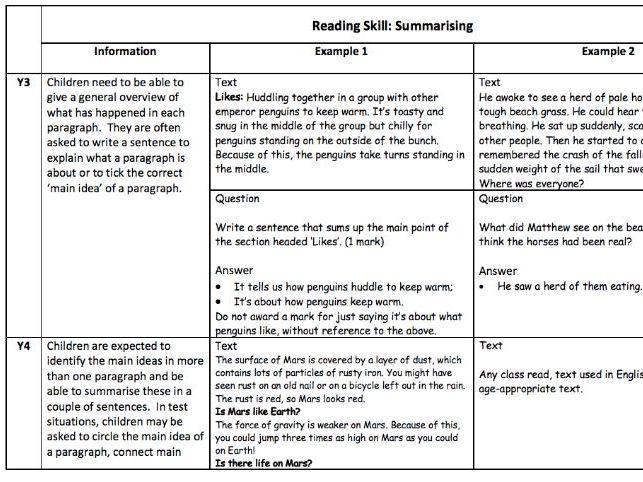 KS2 reading training and skills document