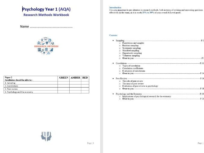 Research Methods 2 student booklet