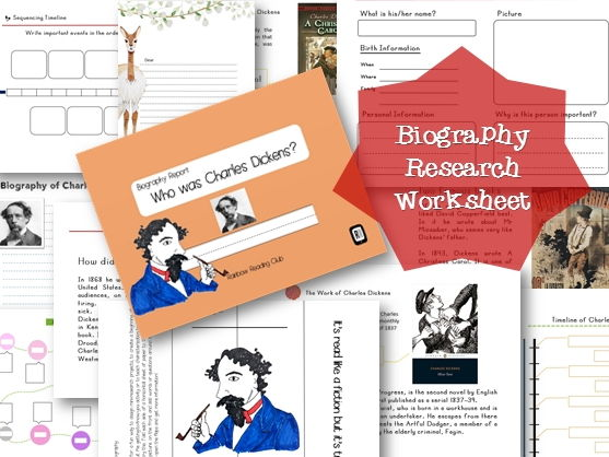 Biography Research Report / Charles Dickens Biography worksheet