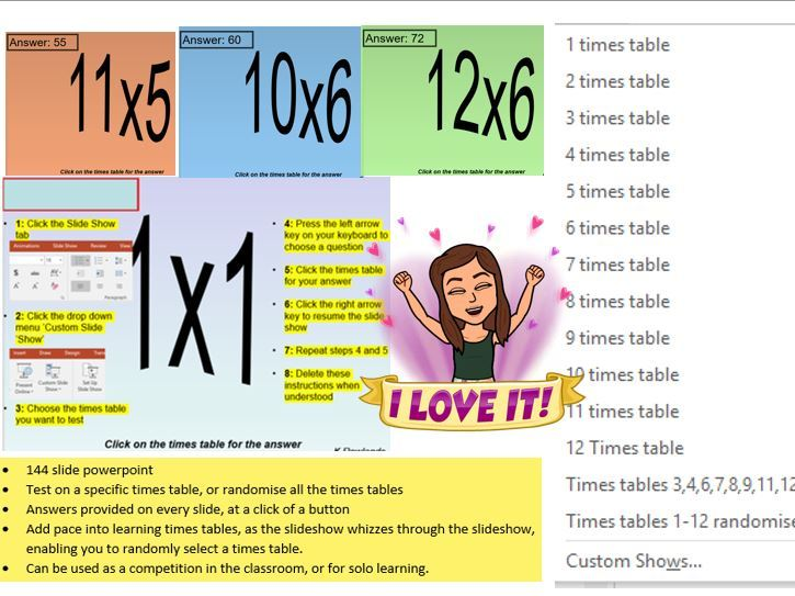 TIMES TABLES RESOURCES 1-12, RANDOM OR SPECIFIC TESTING ON TIMES TABLES