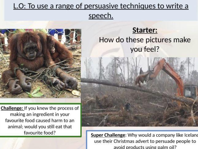 Persuasive writing 6 lesson bundle! Including Rang-Tan Iceland Xmas advert persuasive writing lesson.