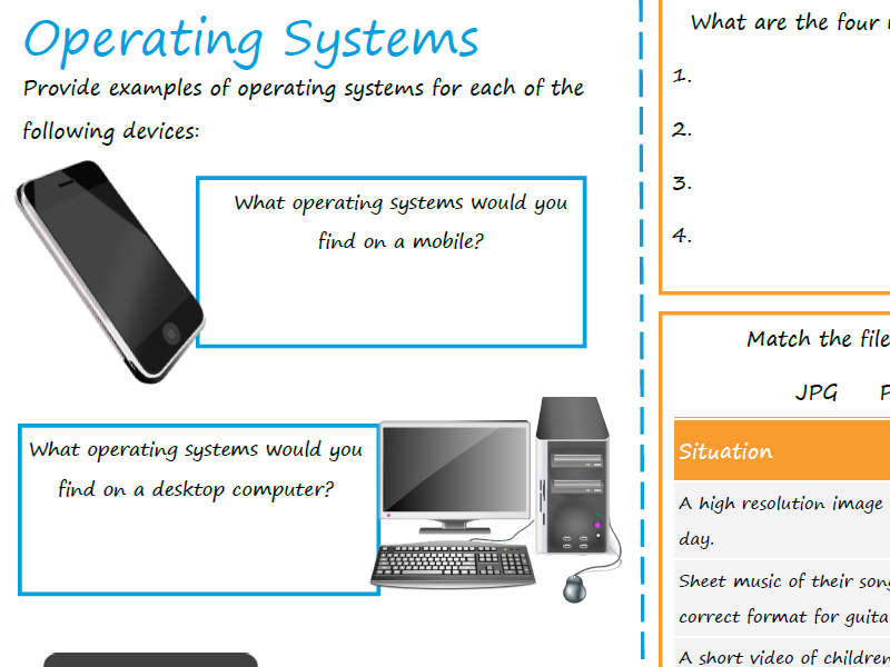 Operating Systems - Revision Worksheet