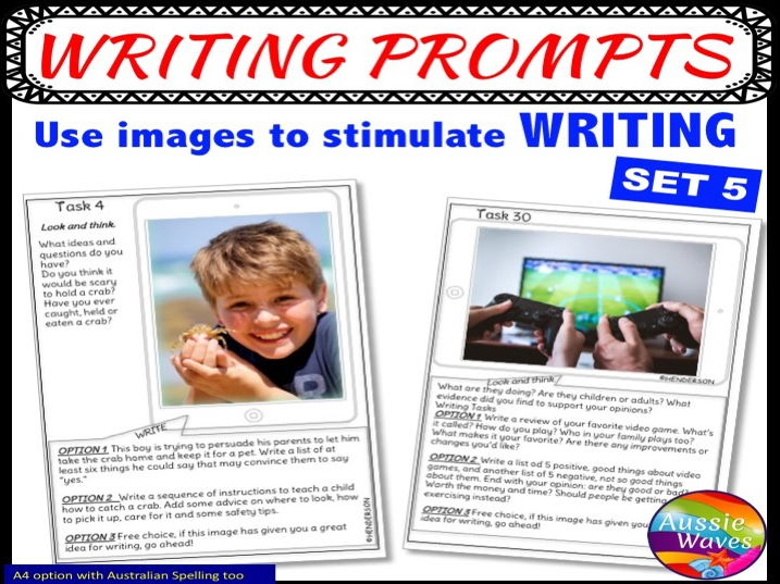 WRITING Task Cards IMAGE PROMPTS SET 5 Writing Activity Centres