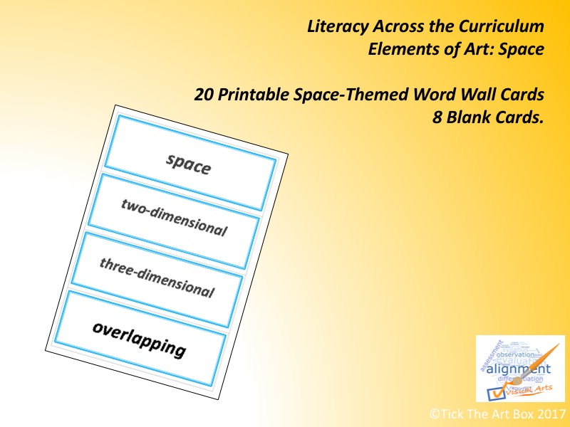 Elements of Art Vocabulary (Word Wall) Cards: SPACE