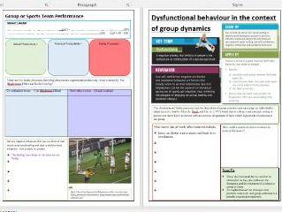 OCR A Level PE - Sport Psychology ILT7 - Group Dynamics, Team Cohesion and Goal Setting.