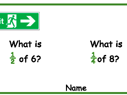 Fraction exit cards for Maths