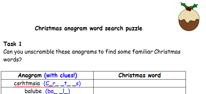 Christmas anagram and word search puzzle