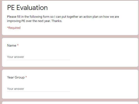 Staff Questionnaire for PE Audit