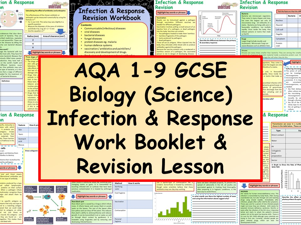 AQA 1-9 GCSE Biology (Science) Infection & Response Work Booklet & Revision Lesson