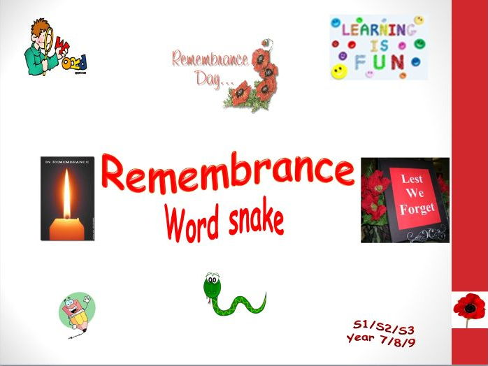 Remembrance Day word snake