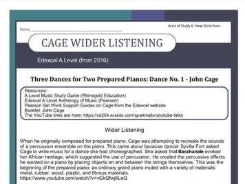 Edexcel Music A Level (from 2016) Cage Wider Listening