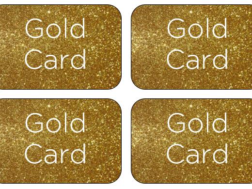 Gold reward cards