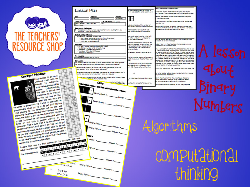 Computational Thinking Algorithm Binary Lesson Plan + Activity Handouts